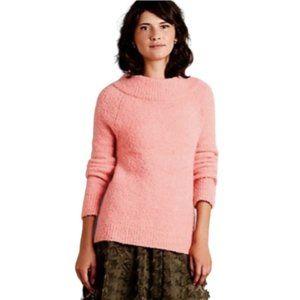 Anthropologie Moth Small Pink Wool Alpaca Boucle Knit Mock Neck Sweater